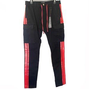 Amiri Stack Cargo Track Stripe Pants Black Red 32
